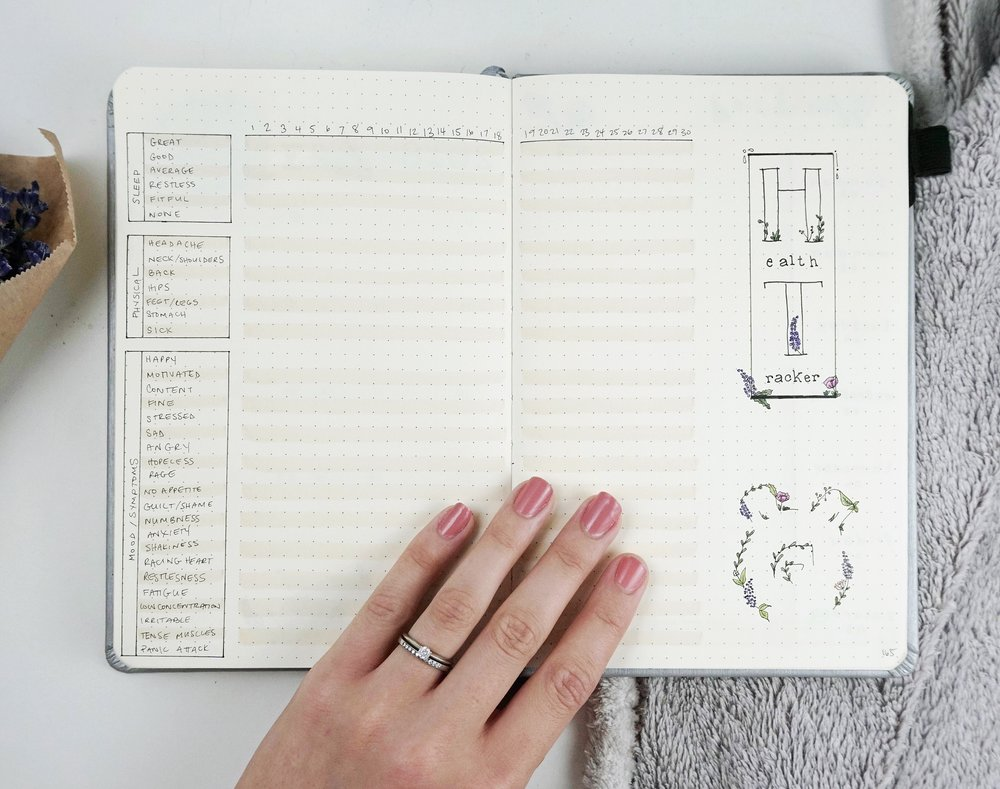 Mood and Sleep Tracker Bullet Journal // Symptom Tracker Bullet Journal // Plant Based Bride