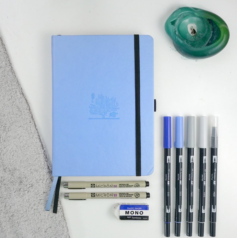 Dingbats Earth Collection Sky Blue Great Barrier Reef A5+ Dot Grid Journal // New BuJo Set Up! // Plant Based Bride