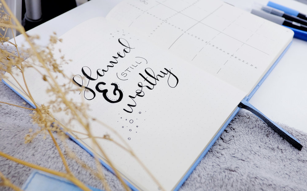 flawed & (still) worthy. // new bujo set up 2018 // plant based bride
