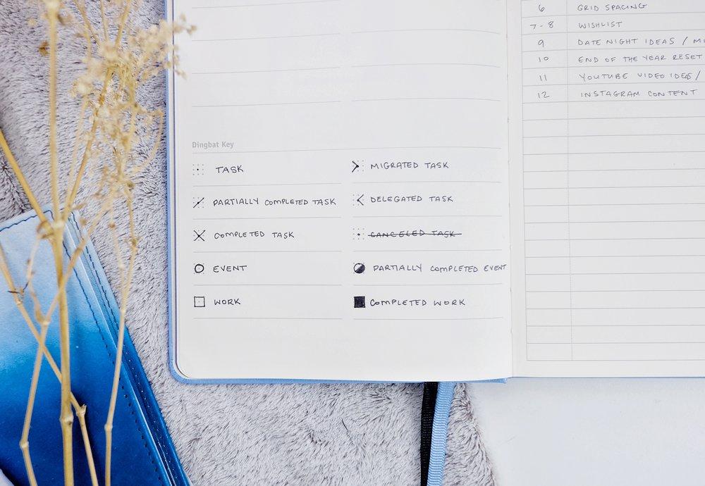 Bullet Journal Key // New BuJo Set Up 2018 // Plant Based Bride