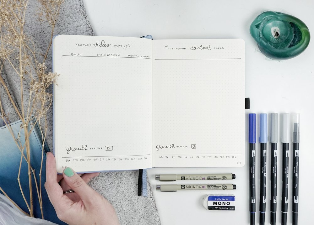 YouTube and Instagram Ideas and Trackers // New BuJo Set Up 2018 // Plant Based Bride
