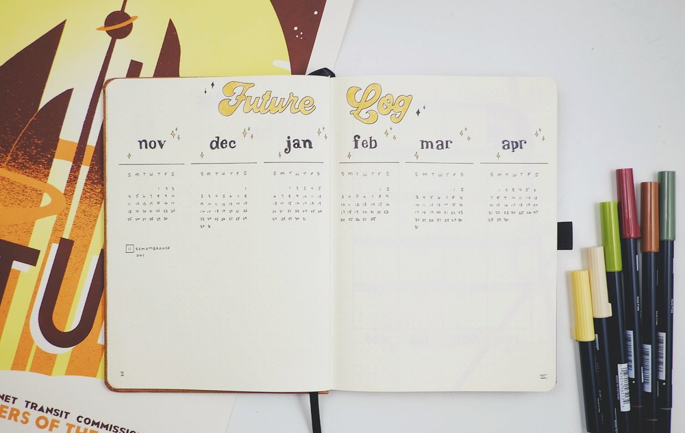 Setting Up My Husband's First Bujo! Plan With Me 70s Theme October 2018 // Plant Based Bride