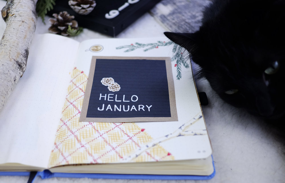 Hello January 2019 | New Bullet Journal Cover Page | Plant Based Bride