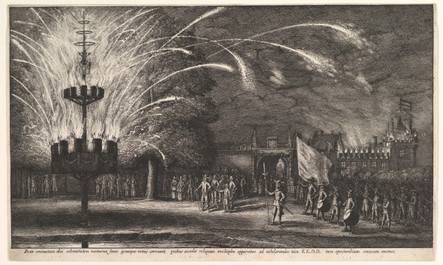 Old Artwork of Fireworks at Hemissem