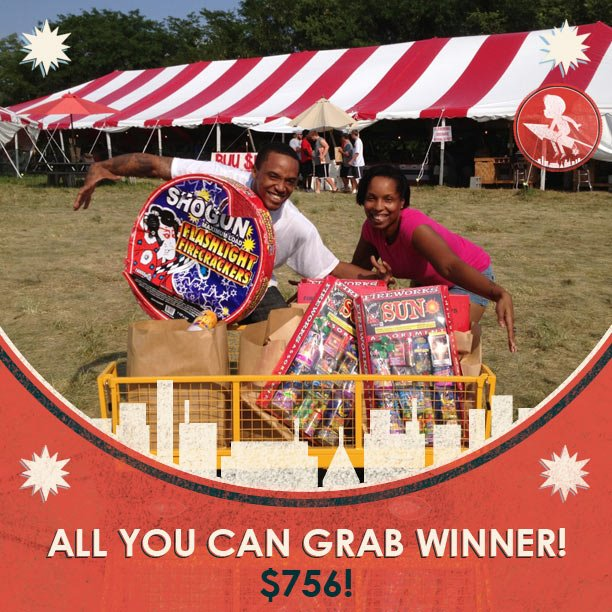 One of many 2012 All You Can Grab Winners- won $756 in free fireworks