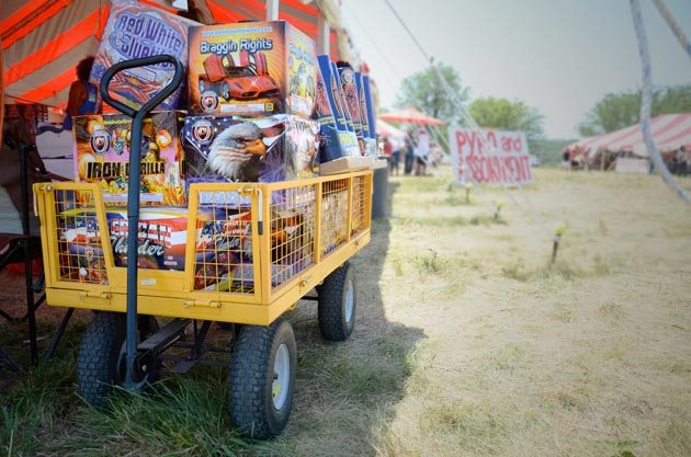 Huge supply of wholesale fireworks in a wagon