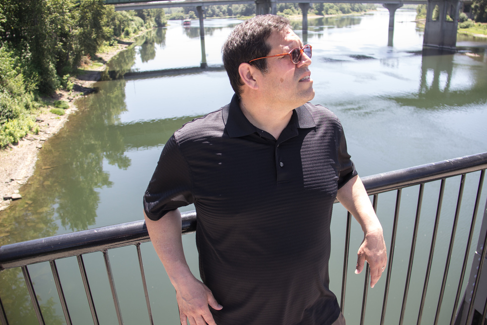 Author David Espinoza at Walkway above Willamette River in Salem, Oregon.