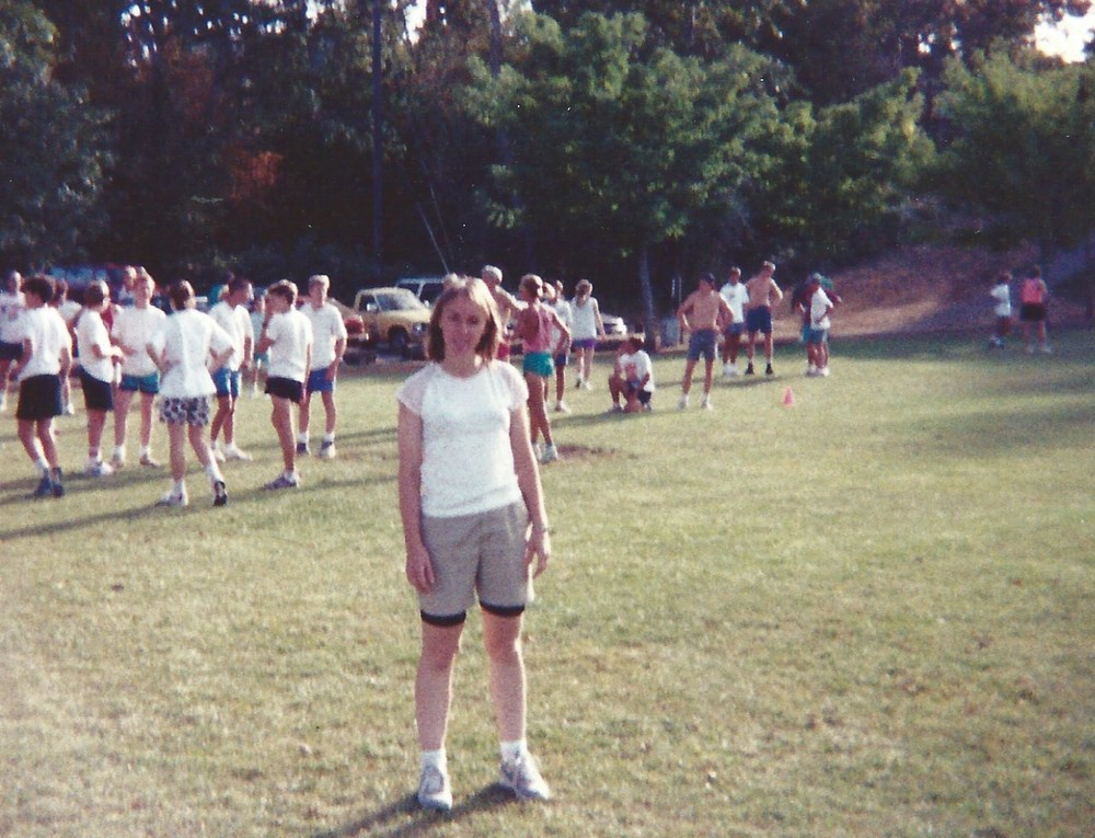 1992 Candi is getting ready to run the 3000 meters at Bush Pasture Park.