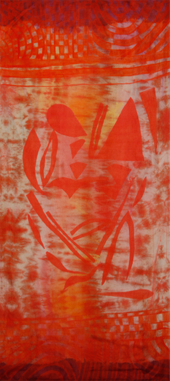 Silk.    Screenprint, resist, and hand paint.