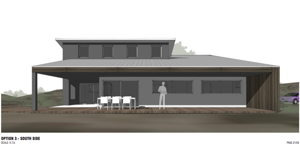 An option with a clerestory roof. Notice the shallow slope.