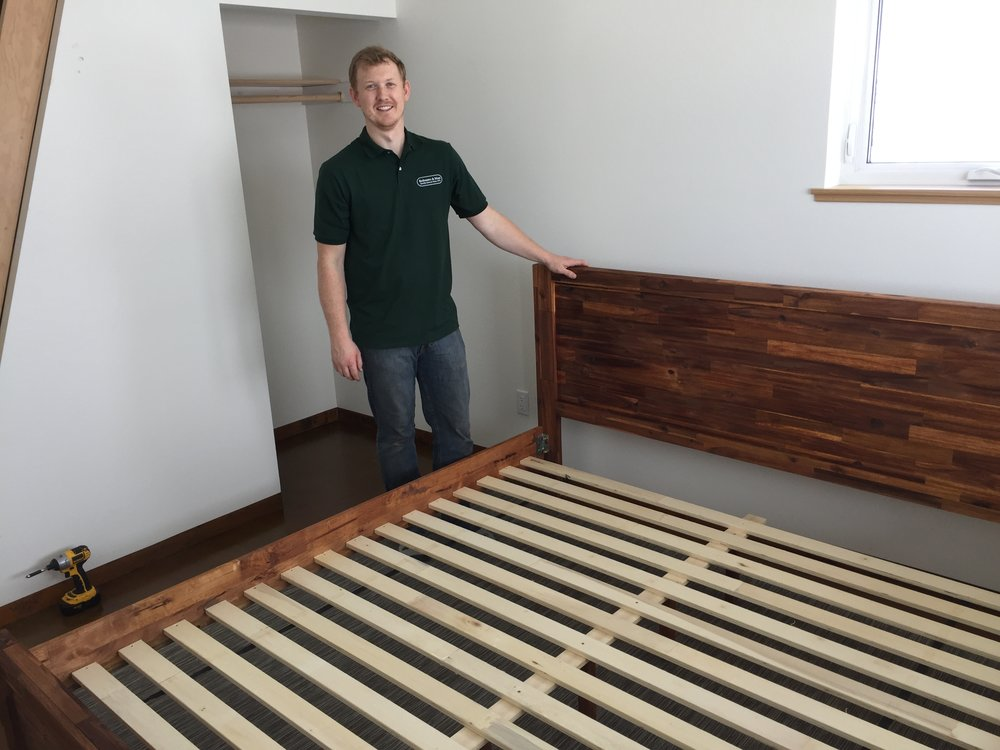 Thanks to Drew from Bedrooms and More for delivering our new beds through the snow to Winthrop on a weekend. He even set them up for us!