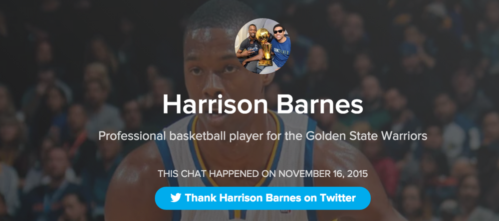 Harrison Barnes Hypeist Product Hunt Live Chat