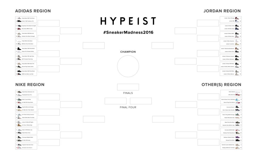 Hypeist Sneaker Madness 2016 Bracket