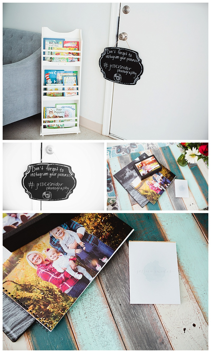 Don't forget to upload pictures you may take during your session to social media - IG #jessicasniderphotography.  Here you can see some product samples of our albums.