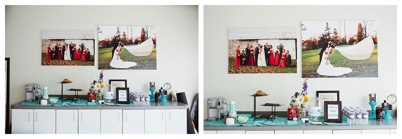 "The beginning of my ""wedding wall"" and some goodies I had available for the Grand Opening."