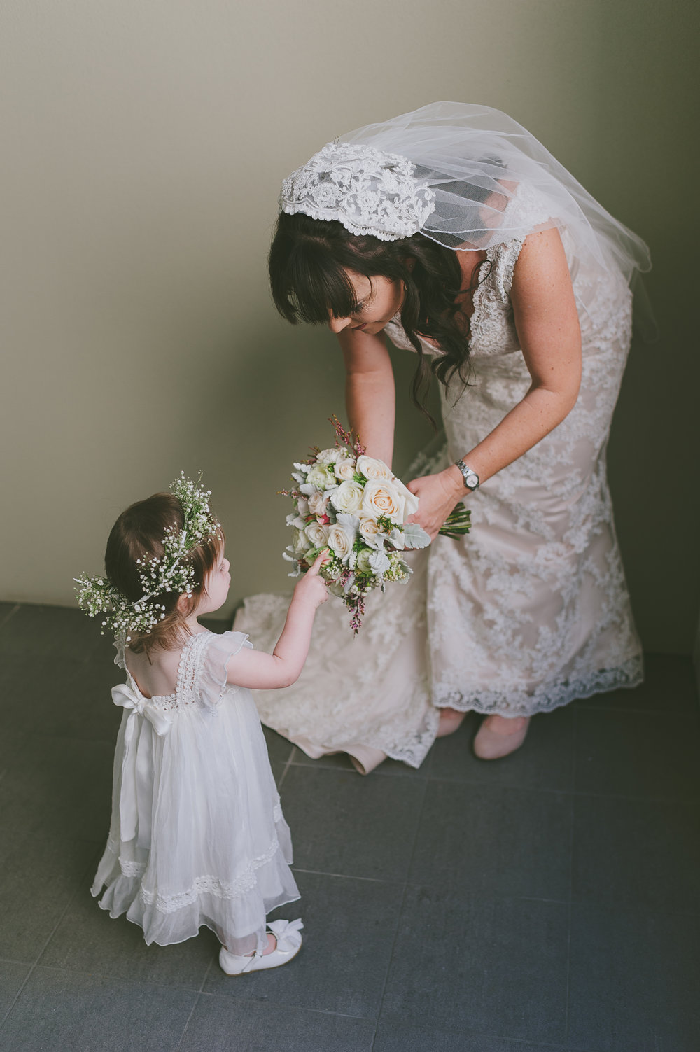Bride and flowergirl
