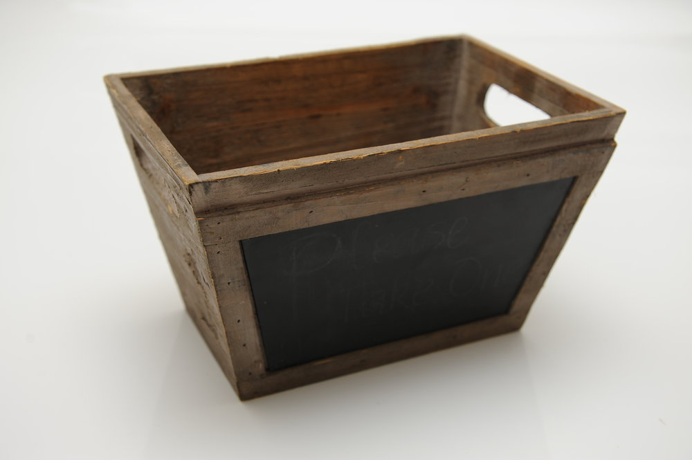 Wooden Box with Blackboard - Hire for $5