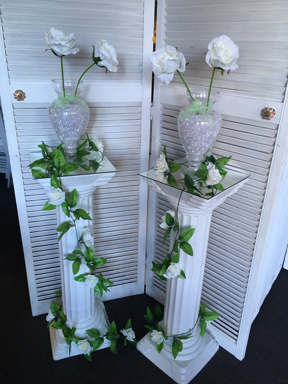 White PVC Pillars/Pedestals - Hire 2 for $50
