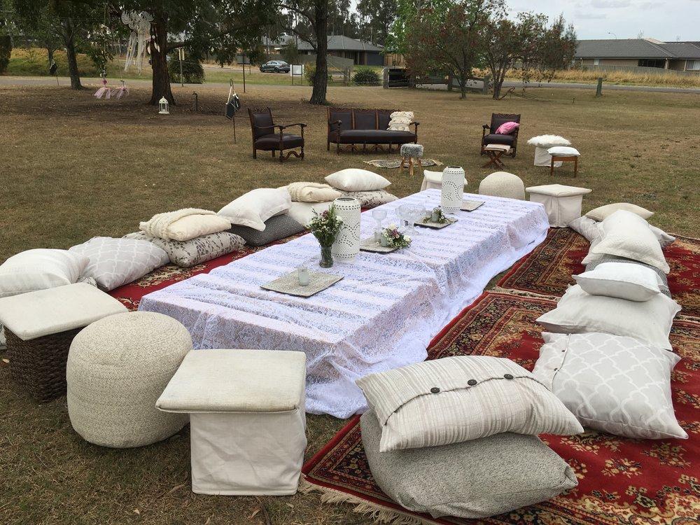 Boho cushions rugs pallets