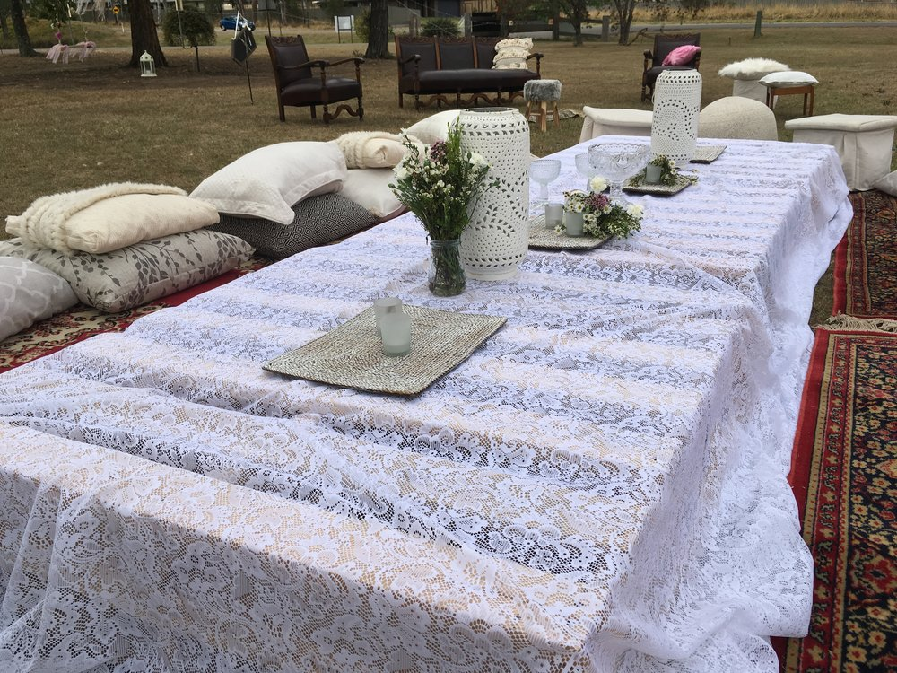 Boho cushions rugs pallets lace