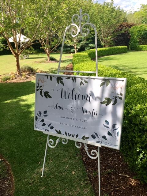 Welcome wedding sign easel