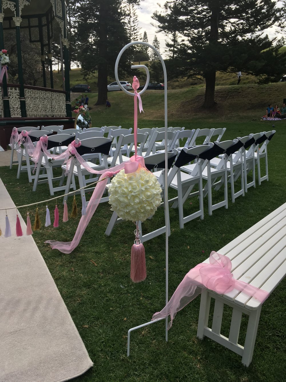 Wedding chairs and white carpet