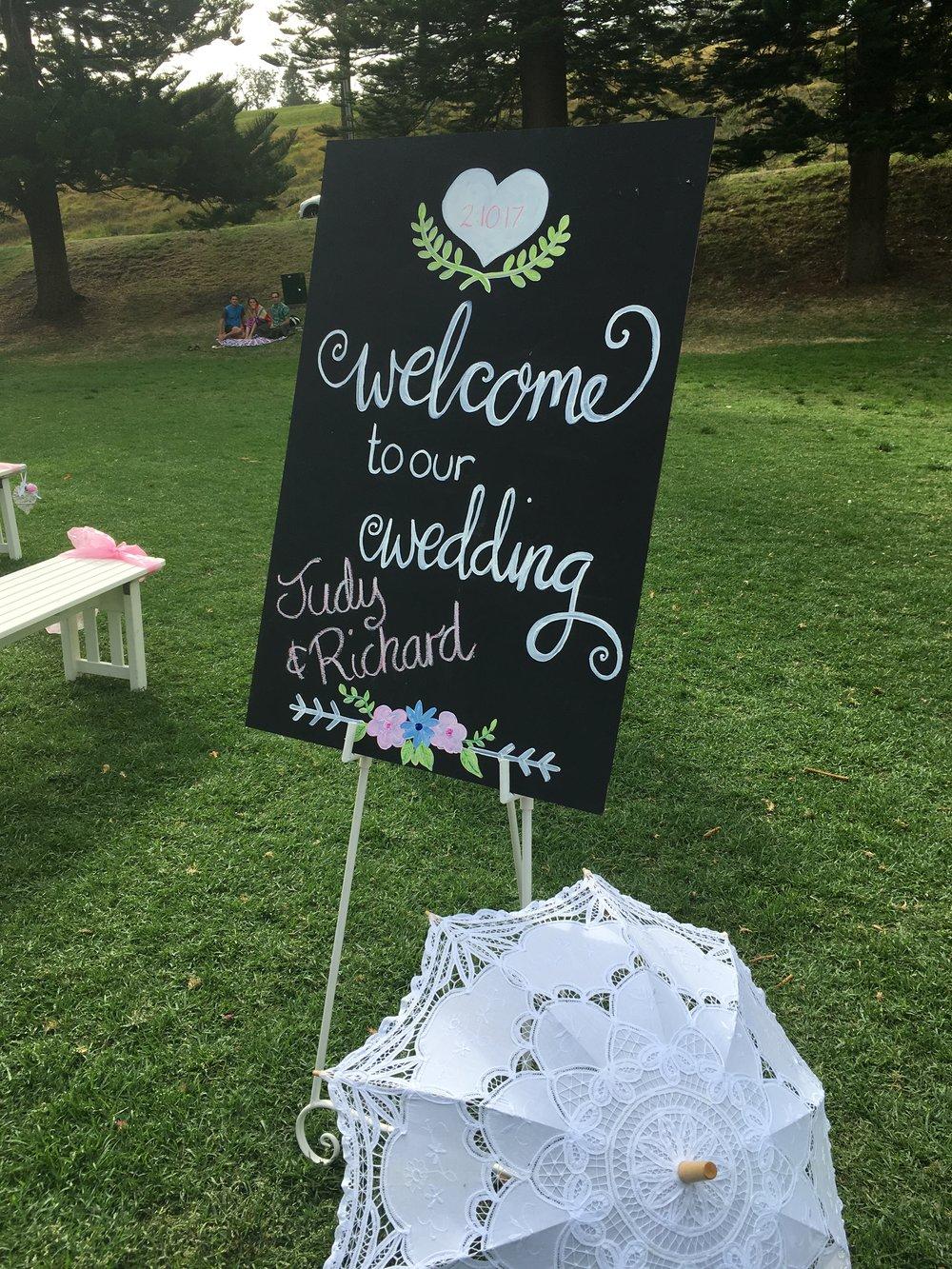 Wedding blackboard on easel