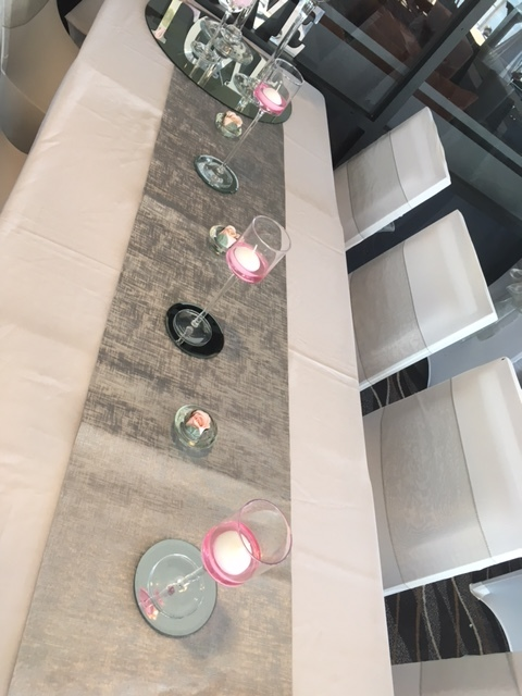 Silver table runner with candles