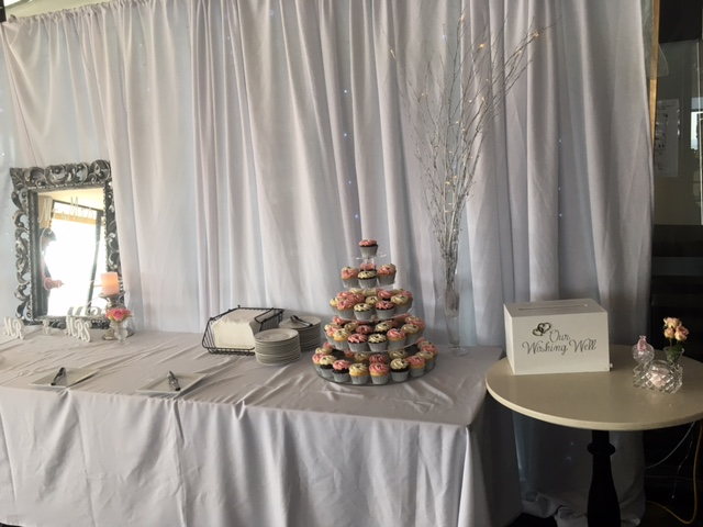 Wedding cake and canapes table