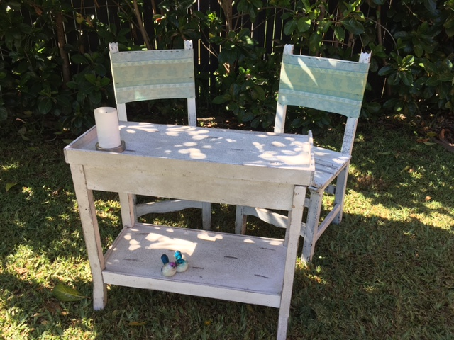 White wash wooden signing table and chair set - $52