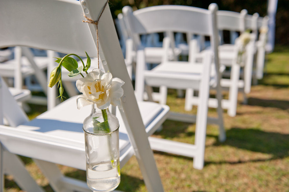 Chair decorations - hanging bottles/vases