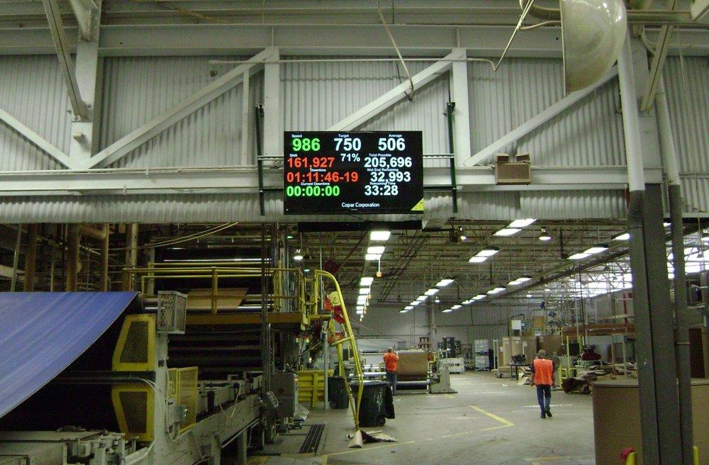 El scoreboard de Copar visualiza datos importantes para la operación de la corrugadora, en forma fácil de ver desde cualquier parte de la corrugadora