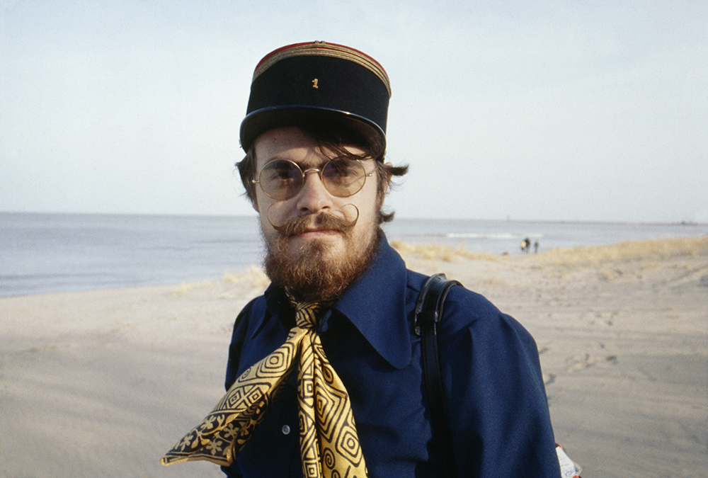Dad, wearing a 19th Century French artilleryman's cap that belonged to John Steinbeck. Lake Michigan, Racine, Wisconsin. April 1970.jpg