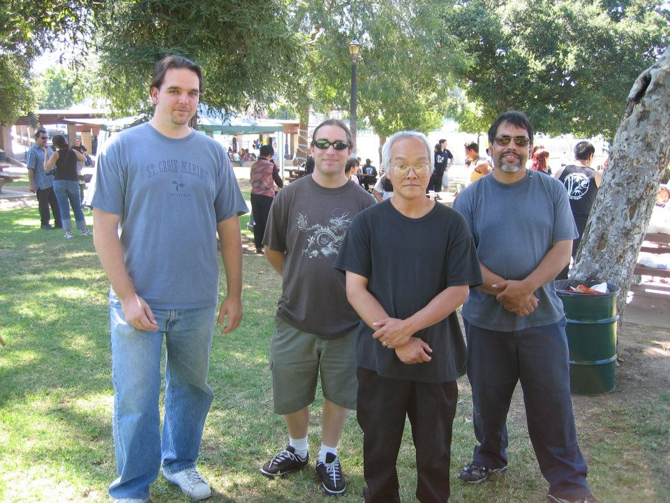 Sifu Franklin Fick, Sifu Jeremy Hector, Grand Master Seming Ma, and Master Louie Martinez. Sifu Fick and Sifu Hector are the first and only two students of Master Martinez to be promoted to instructor level in the Five Family Style (to our knowledge).