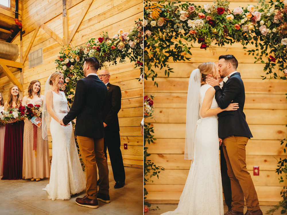 They do! - Ceremony dreams ( Gypsy Floral ) in  The Addison Grove barn.