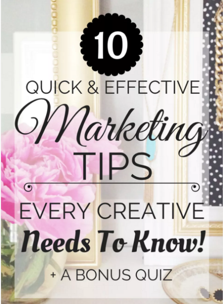 10 Quick & Effective Marketing Tips Every Creative Needs to Know - Bonus Quiz Included - left side art