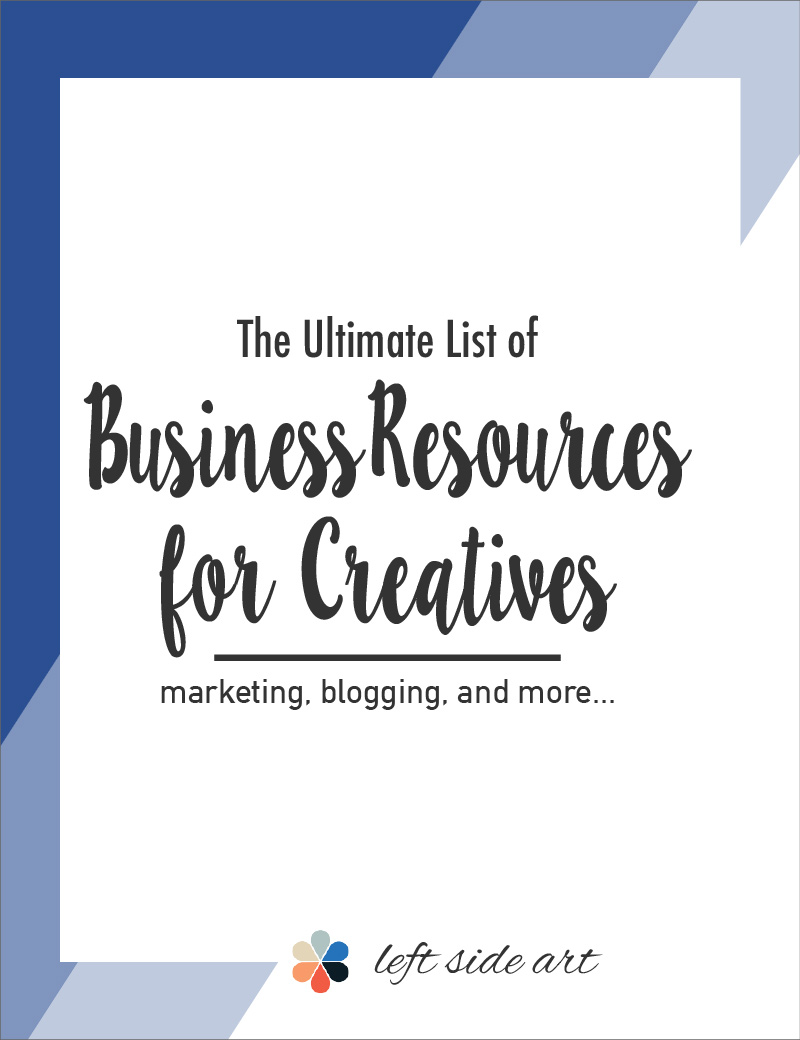 The Ultimate List of Business Resources for Creatives - left side art
