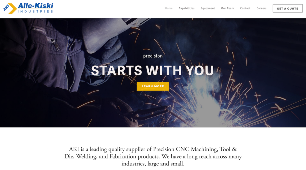 Designed by LeftSideArt: AKI's new website launched January 2016!  Check it out at http://allekiskiind.com/. Alle-Kiski Industries is a small town machine shop owned by two dedicated and very successful entrepreneurs.  Their website was in dire need of a technology and design upgrade to be more modern and mobile friendly.