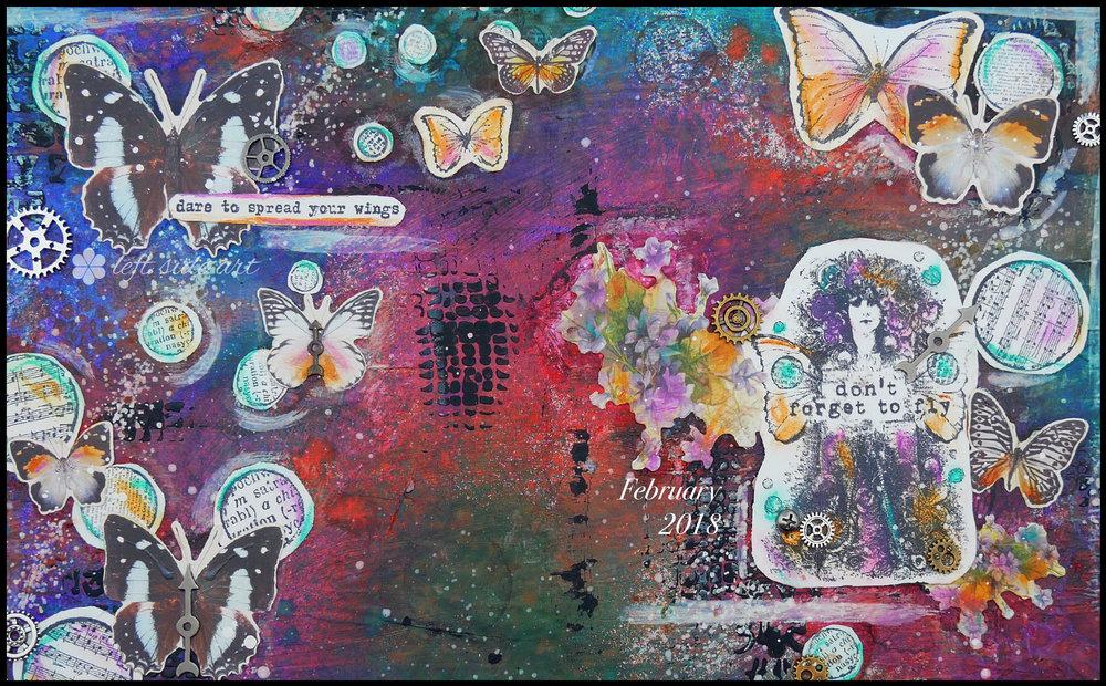 Art Journal for Beginners - Spread Your Wings - Left Side Art