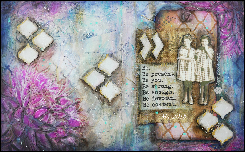 Art Journal, Mixed Media backgrounds - left side art