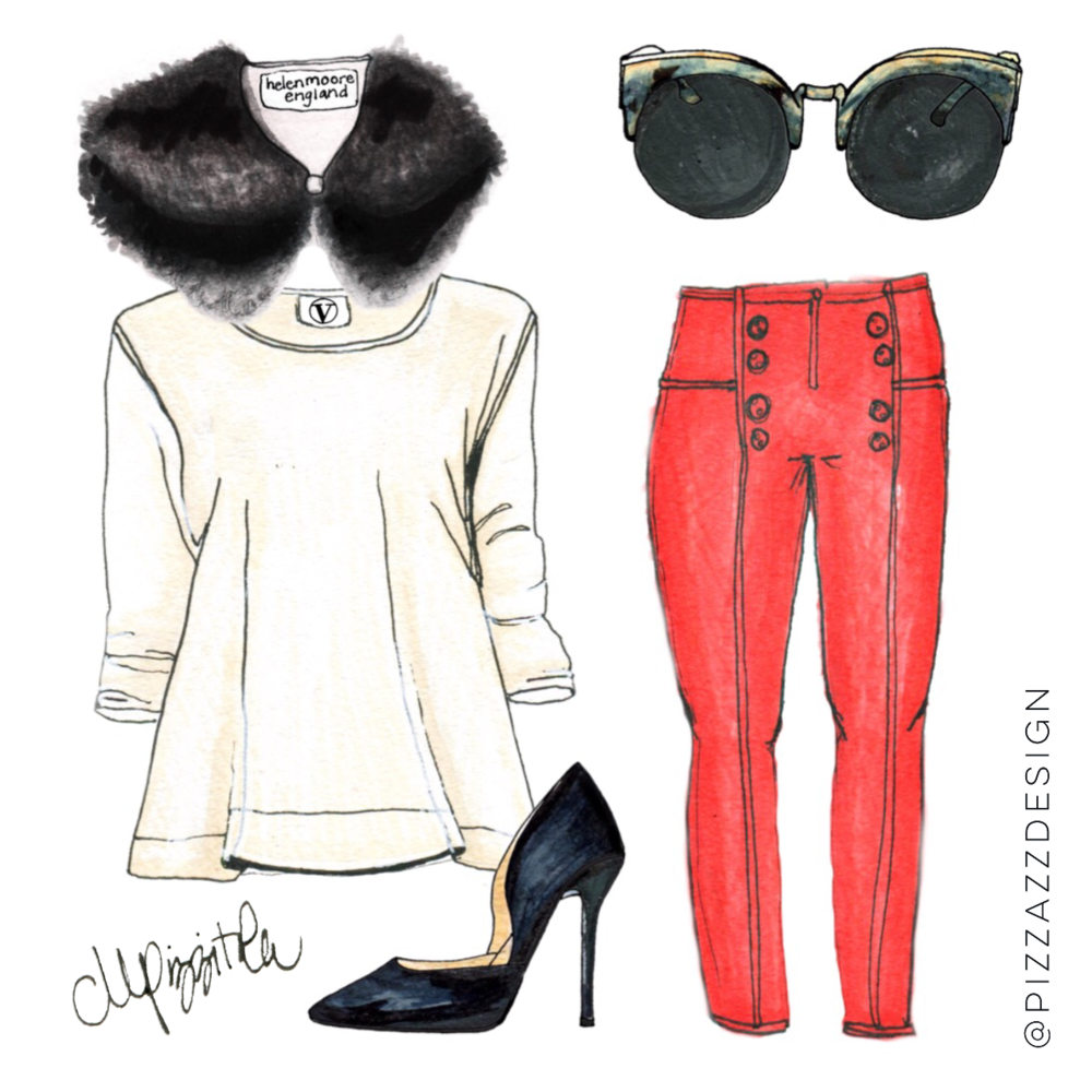 Red, White + Black Winter Outfit.   Mixed Media Illustration by Megan Pizzitola.