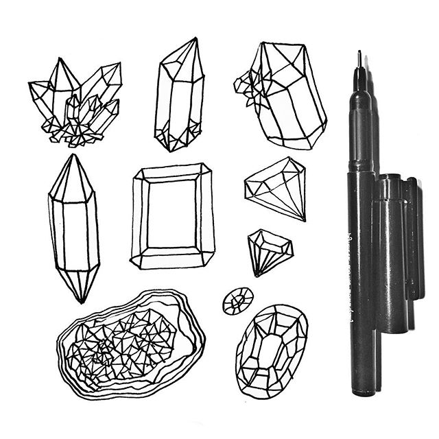 Back to sketching #crystals & #minerals 💎 . . . . . . . #illustration #widn #wip #sketch #sketching #sketchbook #drawing #crystalart #seattleart #seattleartist #instaart #instaartist #ink #rock #geometric