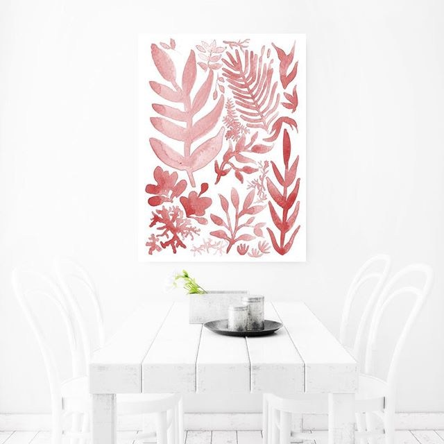 """Red Corals + Laurels"" watercolor print in monochrome . . . . . . . #illustration #widn #wip #painting #watercolor  #floralillustration #floral #seattleart #seattleartist #instaart #instaartist #homedecor #fashionhome #artprints #framedprints"