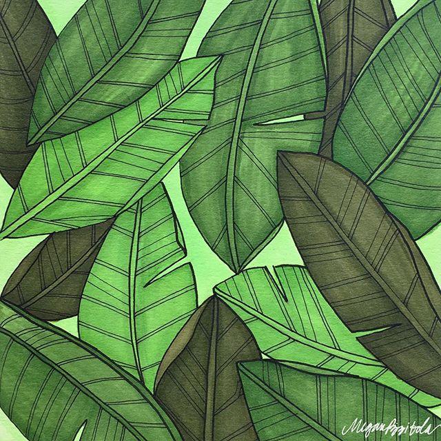 Tropical Daydreams 🌴 . . . . . . . . . . #illustration #floral #palm #tropical #prismacolor #sketch #drawing #sketchbook #green #leaves #botanicalillustration #patterndesign