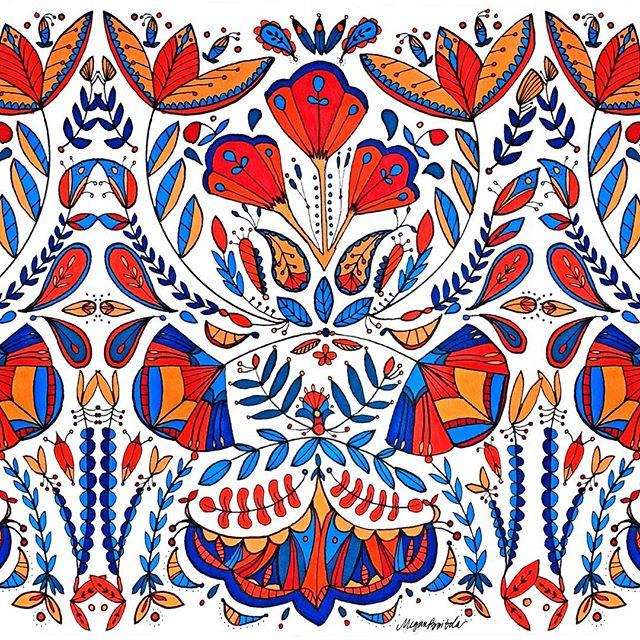 Scandinavian Pattern from my Sketchbook . . . . . . . . . . #illustration #floral #scandinavian #pattern #prismacolor #sketch #drawing #sketchbook #textile #textiledesign #botanicalillustration #patterndesign #print #printdesign #fashiondesign #fashionillustration