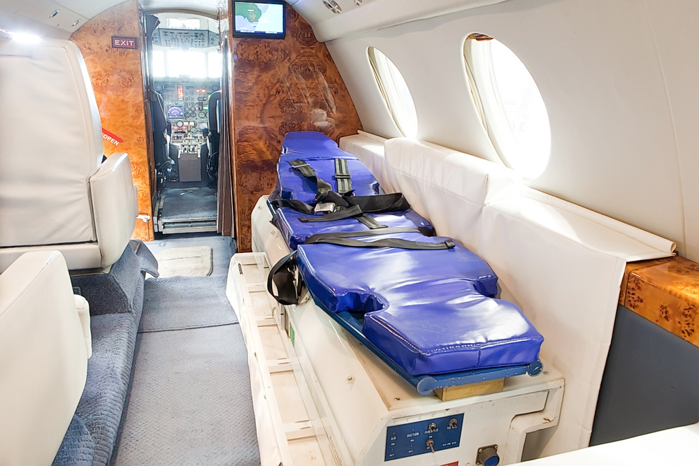 Medical stretcher in Falcon Air Dassault Falcon 20-F air plane