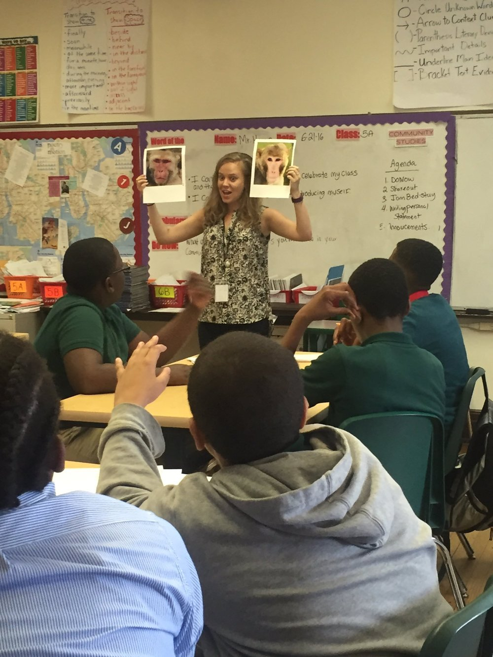 Speaking to 6th graders at a school in Brooklyn, NY