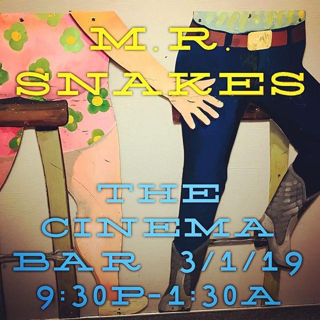 We're live Friday night 3/1 at The Cinema Bar 9:30p-1:30a. +21, Nooo cover. Slither on out Snakeheads 🐍3967 Sepulveda Blvd. Culver City. . #mrsnakes #mrsnakesmusic #emrsnakes #emrsnakesmusic #snakeheads #thecinemabar #cinemabar #culvercityrocks