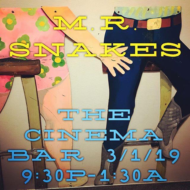We're live Friday night 3/1 at The Cinema Bar 9:30p-1:30a. +21, Nooo cover. Slither on out Snakeheads 🐍3967 Sepulveda Blvd. Culver City. . #mrsnakes #mrsnakesmusic #emrsnakes #emrsnakesmusic #snakeheads #thecinemabar #cinemabar #culvercityrocks