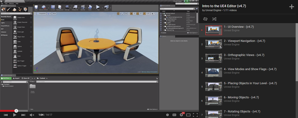 To get started with Unreal Engine 4, I'd recommend the   Intro to the UE4 Editor   tutorial.